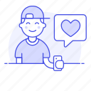 app, bubble, dating, firting, happy, heart, love, man, message, romance, smartphone, speech, text