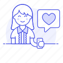 app, bubble, dating, firting, happy, heart, love, message, romance, smartphone, speech, text, woman