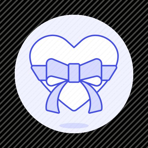 1, anniversary, bow, box, celebration, gift, heart, love, present, ribbon, romance, surprise icon
