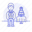 tier, romance, groom, spouse, wedding, dessert, celebration, party, day, suit, cake