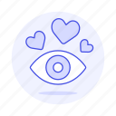 at, attraction, eye, first, hearts, in, love, romance, sight icon