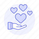 giving, heart, keeping, hand, share, love, romance icon