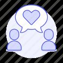 bubble, chat, chemistry, conversation, dating, heart, interest, love, matching, online, romance, speech, text
