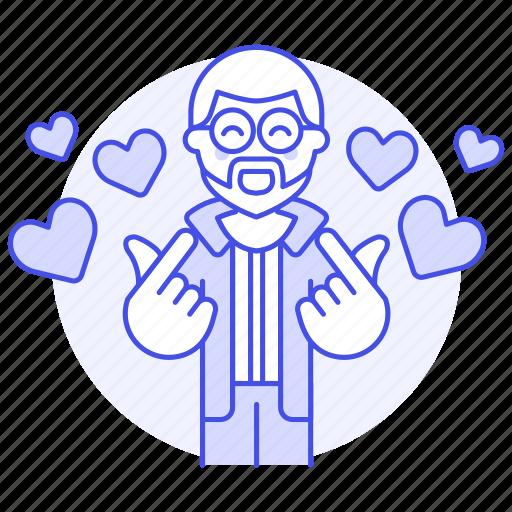 1, 2, boyfriend, dating, gesture, hand, happy, heart, in, love, male, mini, online, romance icon