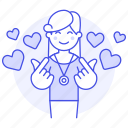 happy, dating, online, heart, hand, mini, love, in, female, gesture, boyfriend, romance