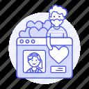 window, romance, dating, male, online, partner, application, profile, like, choosing