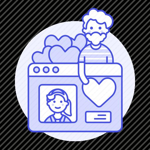 1, 2, application, choosing, dating, like, male, online, partner, profile, romance, window icon