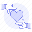 1, attraction, crush, frame, hand, heart, love, romance, target icon