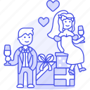 1, bride, celebration, couple, gifts, groom, marriage, party, romance, spouse, wedding icon