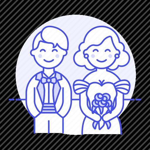 1, bouquet, bride, couple, flower, groom, husband, marriage, romance, spouse, wedding, wife icon