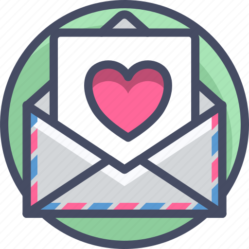 airmail, heart, letter, love, mail, romance, valentines icon