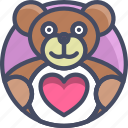gift, heart, holidays, love, romance, teddy, valentines icon