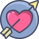 arrow, heart, holidays, love, romance, valentines icon