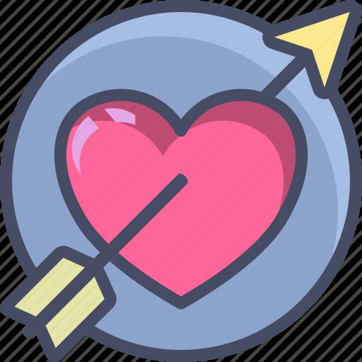 arrow, heart, holidays, love, romance, valentines icon