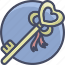 heart, holidays, key, love, romance, valentines icon