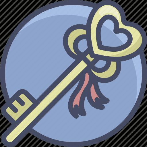 heart, holidays, key, love, romance, valentines icon