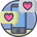 app, love, message, phone, romance, texting, valentines icon