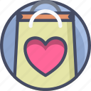 bag, gift, heart, love, romance, shopping, valentines icon