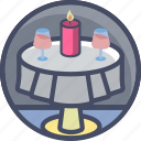 candlelit, date, dinner, love, romance, valentines, wine icon