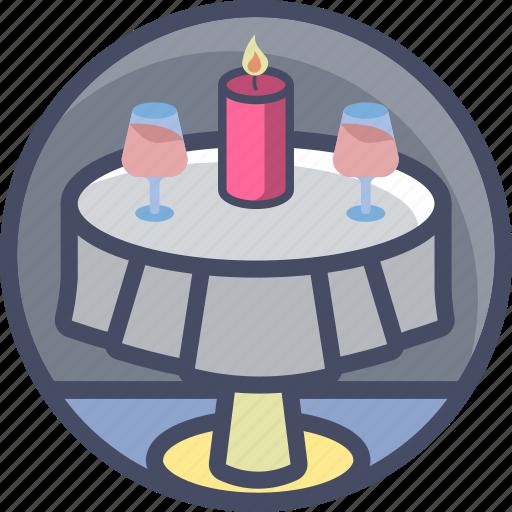 candlelit, date, dinner, love, romance, valentines, wine icon