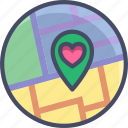 heart, location, love, map, marker, romance, valentines icon