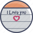 heart, letter, love, note, romance, valentines icon