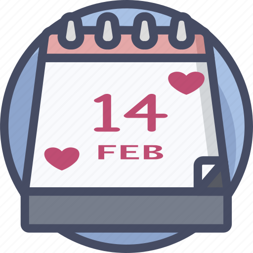 calendar, date, heart, holiday, love, romance, valentines icon