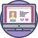 computer, dating, love, online, profile, romance, valentines icon