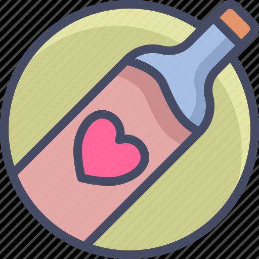 bottle, heart, love, romance, valentines, wine icon
