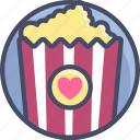 date, love, movie, popcorn, romance, valentines icon