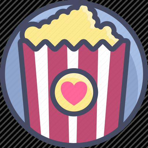 date, love, movie, popcorn, romance, valentines icon