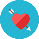 arrow, heart icon