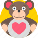gift, holidays, love, romance, teddy, valentines icon