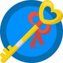 date, gift, heart, key, love, romance, valentines icon
