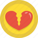 broken, heart, holidays, love, romance, valentines icon