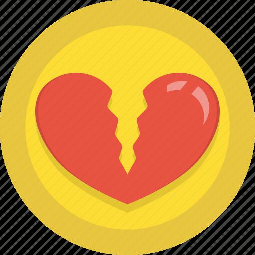 broken, heart, holidays, love, romance, valentines icon
