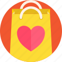 bag, gift, heart, romance, shopping, valentines icon