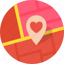 heart, location, love, map, marker, romance, valentines