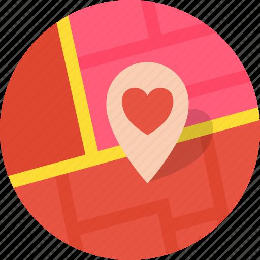Heart, location, love, map, marker, romance, valentines icon