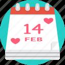 calendar, date, heart, love, romance, valentines icon