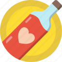 bottle, heart, love, romance, valentines, wine icon