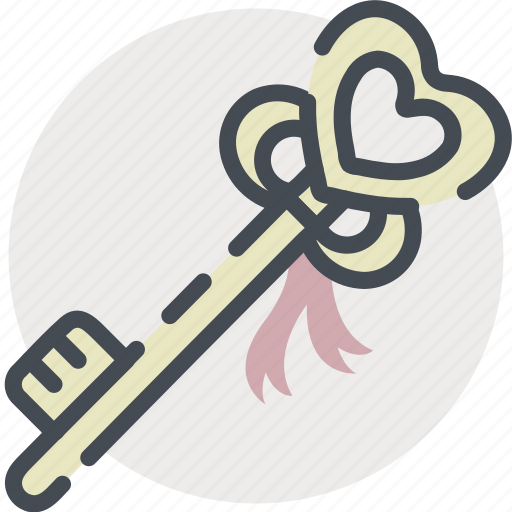 date, gift, key, love, romance, valentines icon