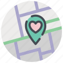date, heart, location, love, map, marker, valentines icon