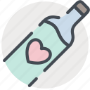 bottle, date, heart, love, romance, valentines, wine icon