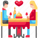 couple, food, drink, dinner, dish, restaurant, wine icon
