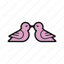 birds, dating, doves, kissing, love, romantic, valentine icon