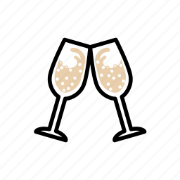 champagne, clinking glasses, dating, glass, romantic, sparkling wine, valentine icon