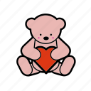 dating, gift, heart, romantic, teddybear, toy, valentine icon