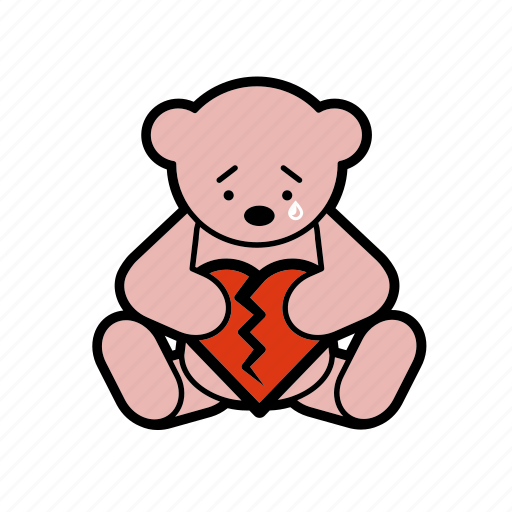 dating, melancholy, romantic, sorrow, tear, teddybear, valentine icon