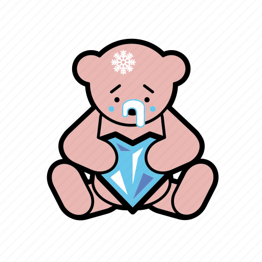 cold, icy heart, loneliness, prudence, romantic, teddybear, valentine icon